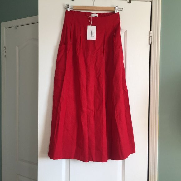Oak + Fort Cropped Red Linen Culotte Pants